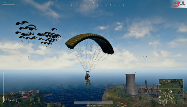 Parachuting down on a crowded ground